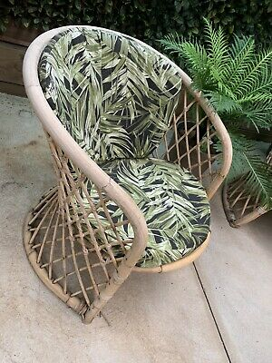 AU285 • Buy PAIR VINTAGE Cane 1970's Outdoor Chairs PICK UP ONLY