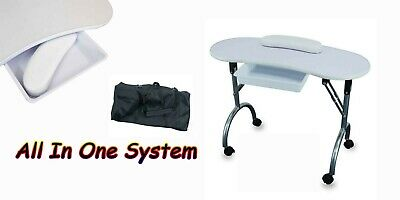 £59.95 • Buy White Nail Table Portable Foldable Travel Manicure Work Station