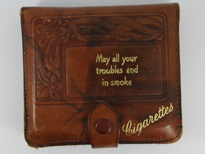 Vintage Brown Leather Cigarette Case May Your Troubles End In Smoke Jb90 • 0.99£