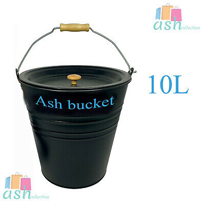 £9.99 • Buy New Ash Bucket With Lid Black Coal Fire Perfect For Stoves -10 Liter
