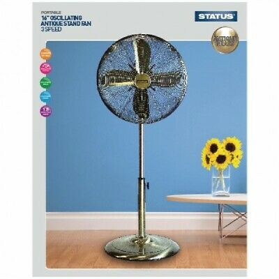 £46.99 • Buy 16  Antique Brass Pedestal Stand Fan 3 Speed Oscillating Cooling Office Home Air
