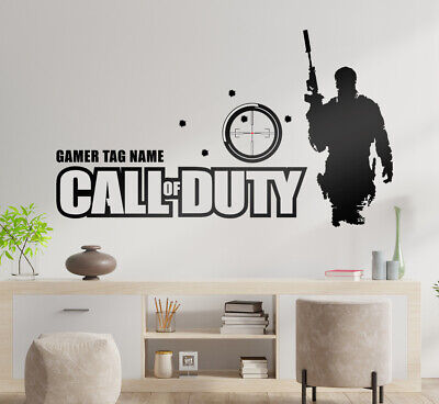 £14.50 • Buy Call Of Duty Vinyl Cut Wall Art Personalised & Red Dot And Bullet Holes