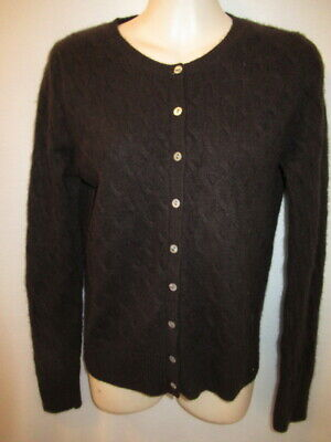 $15.95 • Buy Wendy B 100% Cashmere Dark Brown Cable Knit Crew Cardigan S May Fit XS