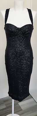 AU14.99 • Buy ASOS Midnight Black Sequinned Wiggle Style Dress Size 10