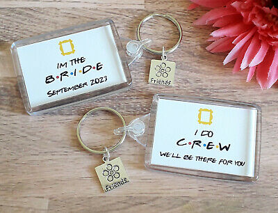 £1.35 • Buy Friends Theme Hen Party Keyring Favours - Im The Bride - I Do Crew - Bride Tribe