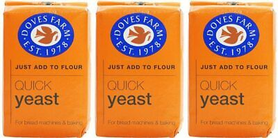 Doves Farm Quick Yeast For Bread Machine Baking Chief No.1 Choice 3 X 125G • 7.40£
