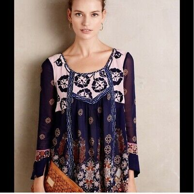 $ CDN48.53 • Buy Anthropologie Floreat Rhiannon Top/Blouse Navy & Pink Embroidered Large