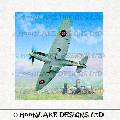 £1.95 • Buy Spitfire Over Lincoln Painting Fabric Panel Square 100% Cotton Or Polyester