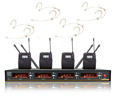 £233.53 • Buy 4 Channel Wireless Microphone System UHF Theater Stage Headset Cordless Mic Set