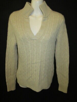 $17.95 • Buy Lands End 100% Cashmere Camel V-Neck With Mock Neck Sweater S 6 8 May Fit XS