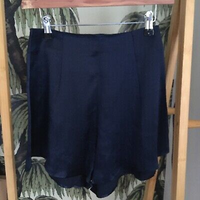 £35 • Buy Topshop Navy Silk High Waisted Shorts UK 6 - Worn Once