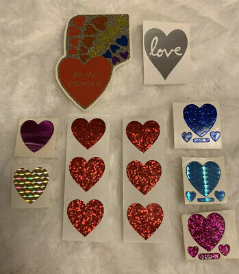AU7.63 • Buy Vintage 80's Sparkle Heart Sticker Lot