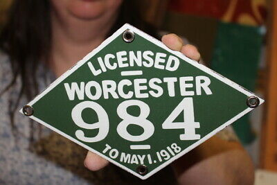 $ CDN12.04 • Buy Worchester Motorcycle 1917 - 1918 License Plate Tag Gas Oil Porcelain Metal Sign