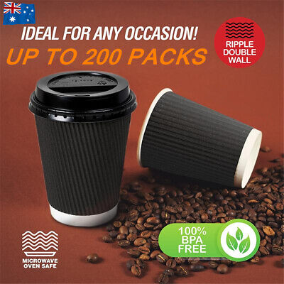 AU11.90 • Buy Disposable Coffee Cups Drinking 8oz 12oz Bulk Takeaway Paper Double Wall  Party