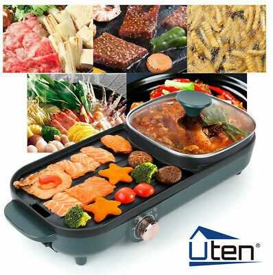 £36.99 • Buy UTEN 2IN 1 Electric Grill Pan Non-stick 1500WHot Pot BBQ Cooker Portable Camp