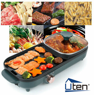 £35.99 • Buy UTEN Electric Grill Pan 2 IN 1 Non-stick 1500WHot Pot BBQ Cooker Portable Camp