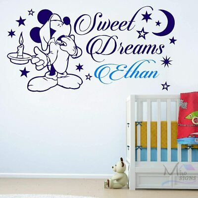 Mickey Mouse SWEET DREAMS Wall Sticker Personalised Any Name Boys Wall Art DECOR • 9.31£