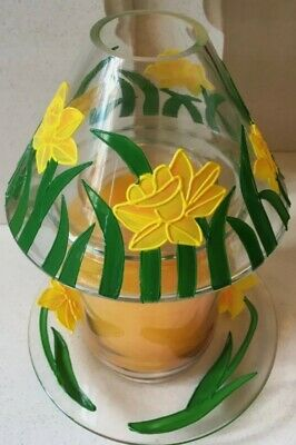 Yankee Candle Spring Daffodil Glass Shade & Plate Set Hand Painted • 21.99£