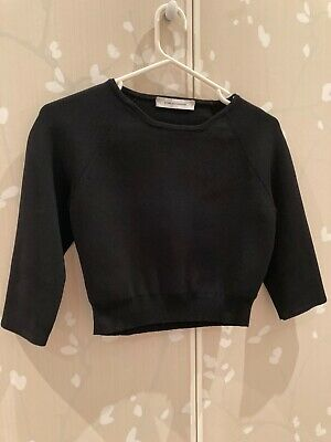 AU80 • Buy Scanlan Theodore Crepe Knit Cropped Top 3/4 Sleeve Black Size Sm Excellent Condi