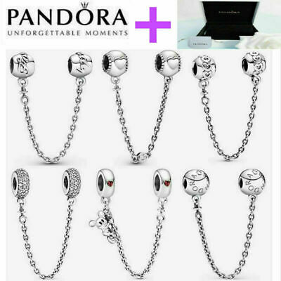 AU20 • Buy NEW Genuine Silver Pandora Logo Safety Chain Charm ALE S925 & With Gift Box