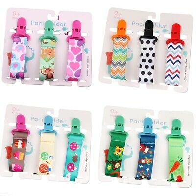 £4.49 • Buy 3X Dummy Clips Baby Boys Girls Soother Chain Holder Safe Strap Pacifier UK STOCK