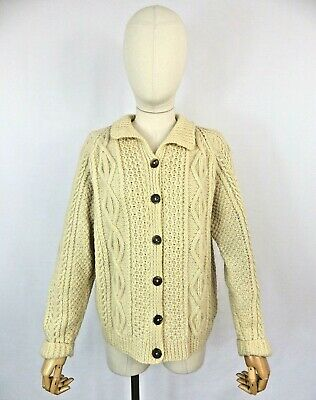 £42.99 • Buy Vintage Welsh Cream Chunky Cable Aran Hand Knit Cardigan Sweater Pure Wool M 14