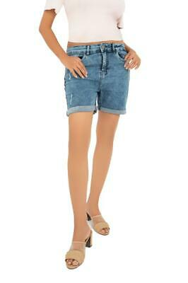 £7.99 • Buy Ladies Summer Stretch Denim Shorts Roll Up Beach High Rise Distressed Hot Pants
