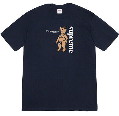 $ CDN101.64 • Buy *SEALED* SUPREME SPRING TEE: NOT SORRY Size S S/S T-shirt SS21 Navy W/ Sticker
