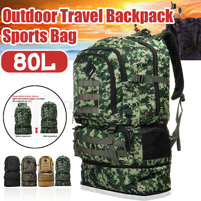 AU19.08 • Buy 80L Camping Luggage Backpacks Hiking  Rucksack Outdoor Sport Travel Light