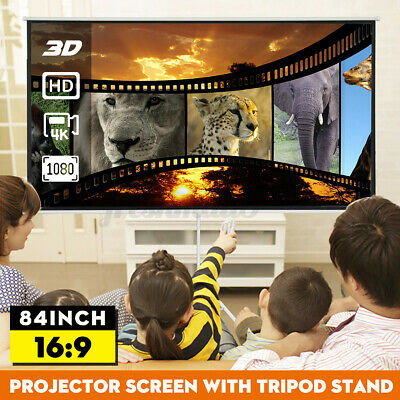 AU120.19 • Buy 84'' 16:9 3D Portable Projector Screen Tripod Stand HD Indoor Outdoor Theater