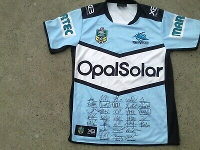 AU205 • Buy SIGNED 2018 Cronulla Sharks NRL Rugby League FRAMING Jersey NEW