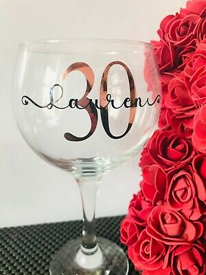 £7 • Buy Personalised Birthday Gift Gin Glass 18th,21st,30th,40th Gift For Her Any Name