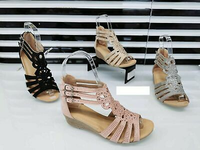 £12.95 • Buy Womens Strappy Gladiator Ladies Low Heel Wedge Summer Sandals Girls Shoes Size