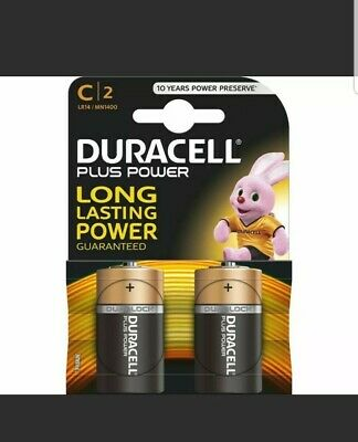 Duracell Plus Power C Battery Pack Of 2. Alkaline Cell C 2 MN1400 LR14 • 3.85£