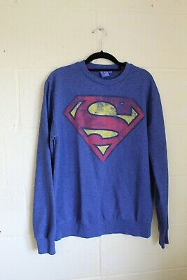 Blue & Red Graphic Print Superman Sweater Size Large Unisex • 6£