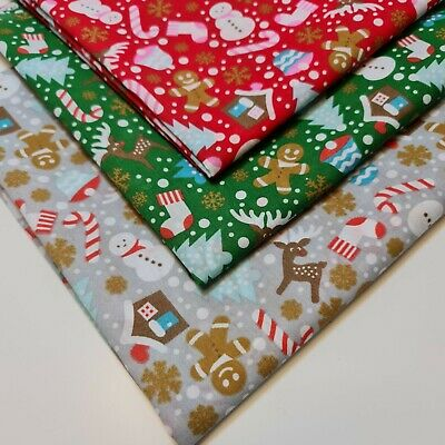 £3.99 • Buy Christmas Festive Ginger Man Polycotton Fabric Craft Dress Material By Metre44