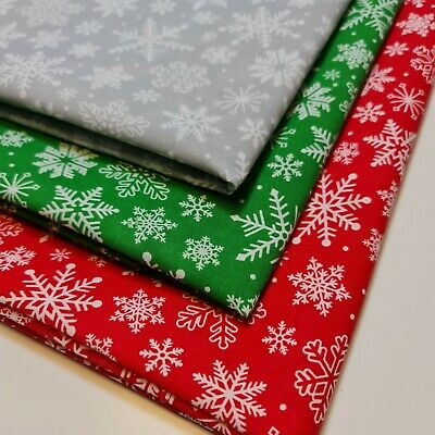 £3.99 • Buy Christmas Festive Snow Flake Polycotton Fabric Craft Dress Material By Metre44