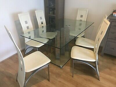 £180 • Buy 6 Seater Glass Dinning Table And Chairs
