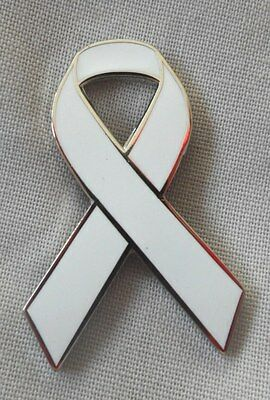 £2.99 • Buy ***NEW*** Lung Cancer Awareness Ribbon Enamel White Badge / Brooch. Charity.