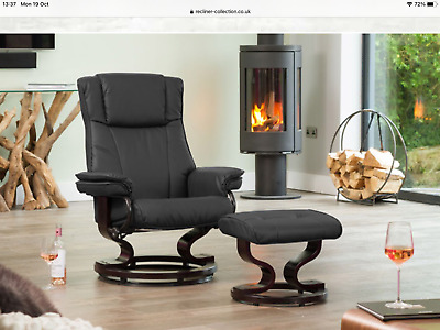 £115 • Buy Black Leather Swivel Chair And Foot Stool