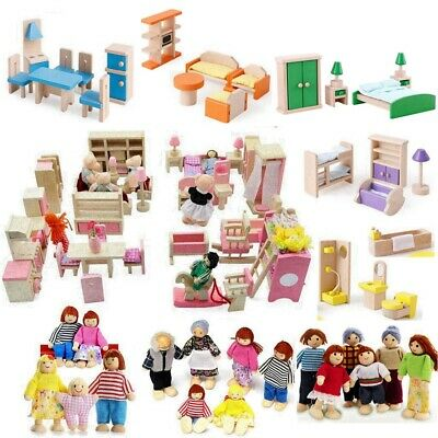 £8.99 • Buy Wooden Furniture Dolls House Set Room Family People Miniature Toys Kids Gifts UK