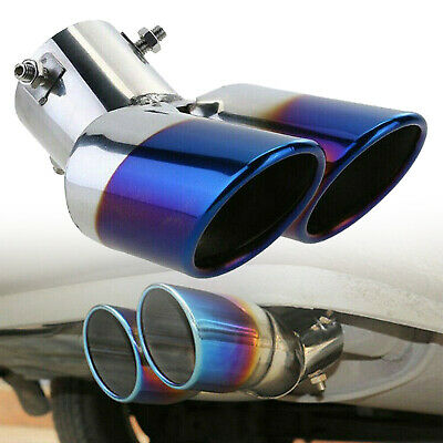£14.22 • Buy 1 X Car Accessories Rear Dual Exhaust Pipe Tail Muffler Tip Throat Blue Tailpipe