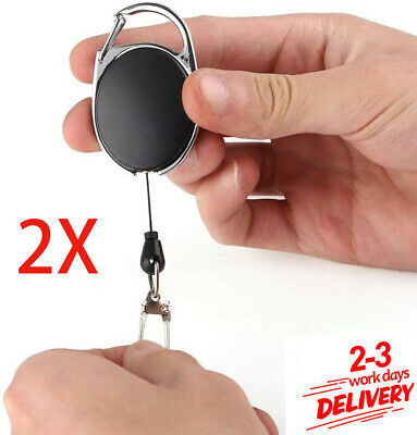 £3.48 • Buy 2X Stainless Pull Ring Retractable Key Chain Recoil Keyring Heavy Duty Steel UK