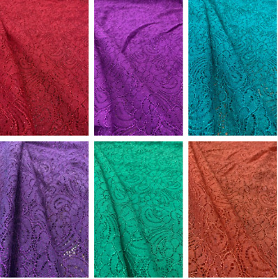 £4.99 • Buy Cord Lace Crochet Glitter Embroidery Floral Dress Craft Fabric 58  Wide