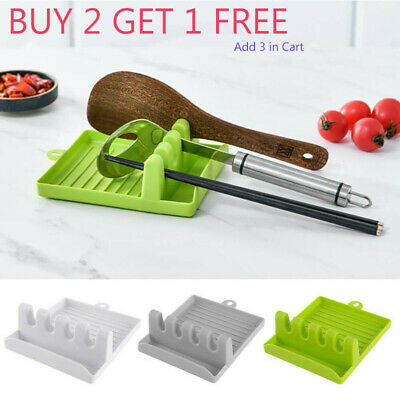 £3.19 • Buy Kitchen Heat Resistant Spoon Rest Cooking Utensil Spatula Holder Tools Silicone,