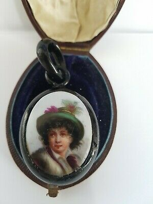 Antique Victorian Whitby Jet  Hand Painted Cameo Chunky Pendant  Goth • 9.99£
