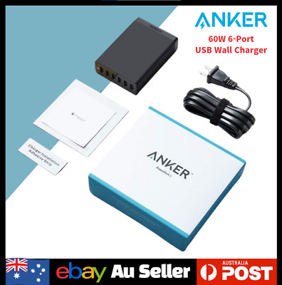 AU59.90 • Buy Anker 60W 6-Port USB Wall Charger, Powerport 6 Charging IPhone Samsung Black