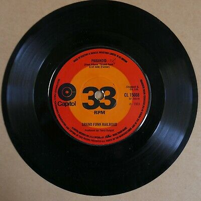 £5 • Buy 45rpm 7  Single GRAND FUNK RAILROAD Paranoid / Inside Looking Out