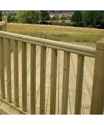 £39.95 • Buy Treated Timber Garden Decking Handrail / Baserail - Fits 32mm + 41mm Spindles