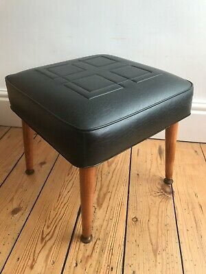 £55 • Buy Sherborne Vintage Foot Stool Black With Dansette Legs Excellent Condition